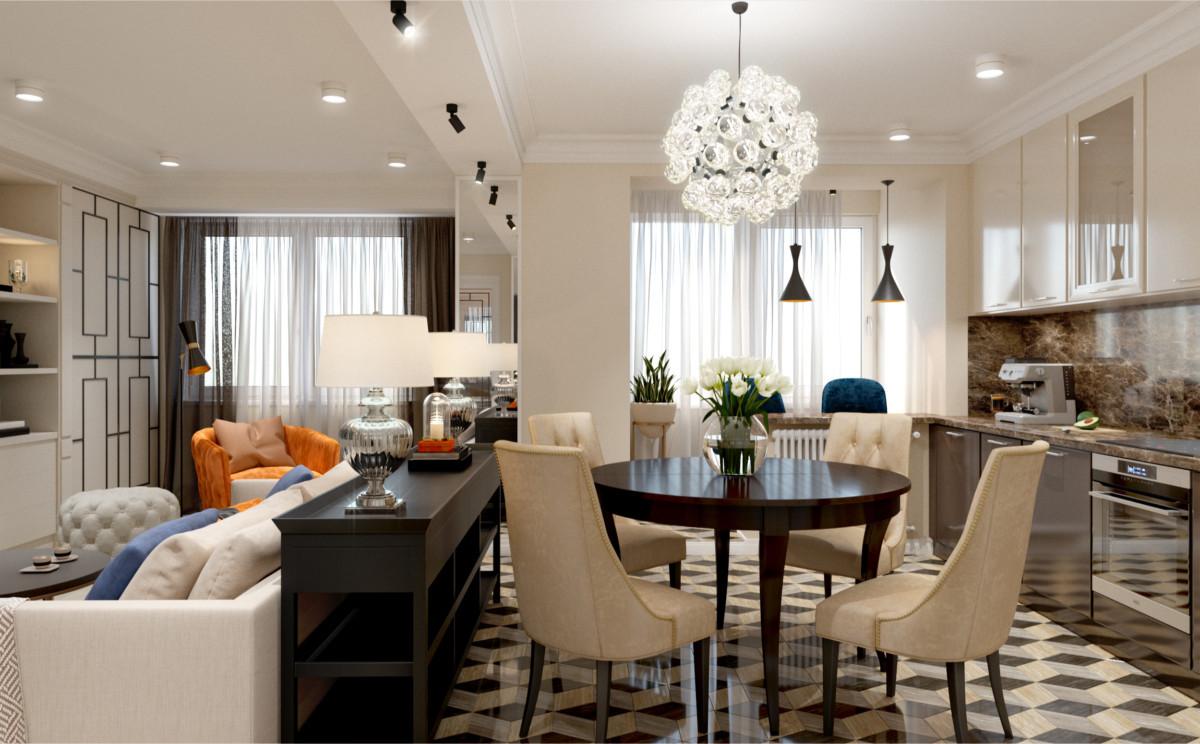 Фантастически красивая квартира в Москве в стиле современная классика