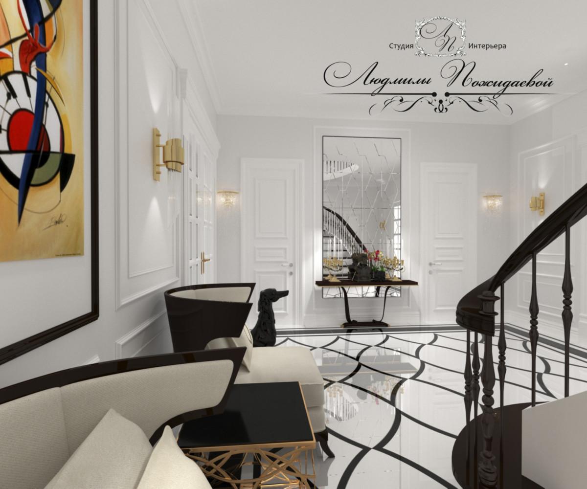 Панелирование в стиле Ральф Лорен при помощи лепнины сохраняет пространство и бюджет.