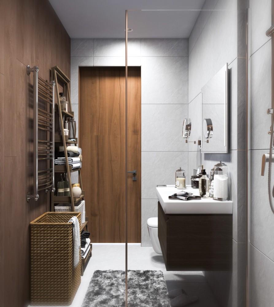 Ванная в  цветах:   Коричневый, Светло-серый, Темно-коричневый.  Ванная в  .