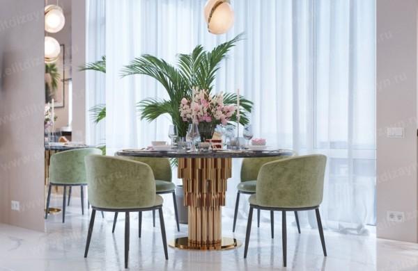 Кухня/столовая в  цветах:   Бежевый, Коричневый, Светло-серый, Серый, Темно-зеленый.  Кухня/столовая в  стиле:   Неоклассика.