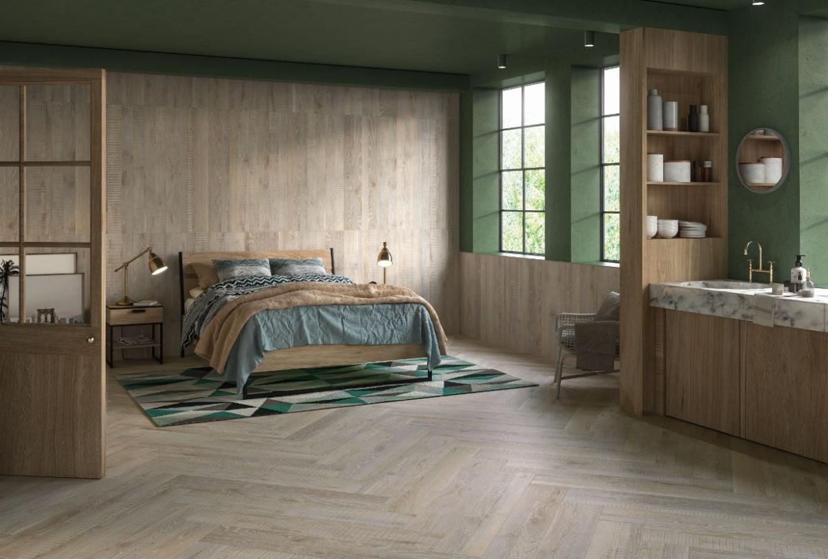 Как создать оригинальный дизайн с помощью плитки с фактурой дерева и непохожих элементов
