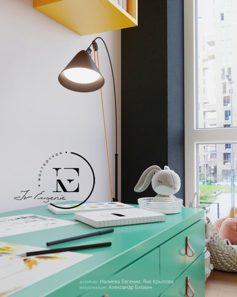 Давайте рассмотрим письменный стол для ребенка, выполненный по эскизам дизайнера в нашей мастерской. Нежно-мятный цвет хорошо подходит для детской и гармонирует с другой мебелью. Декоративные ручки в виде капелек сделаны из натуральной кожи и предотвратят любое травмирование ребенка. Дополнительная подсветка светильником на гибком основании очень удобна в использовании.